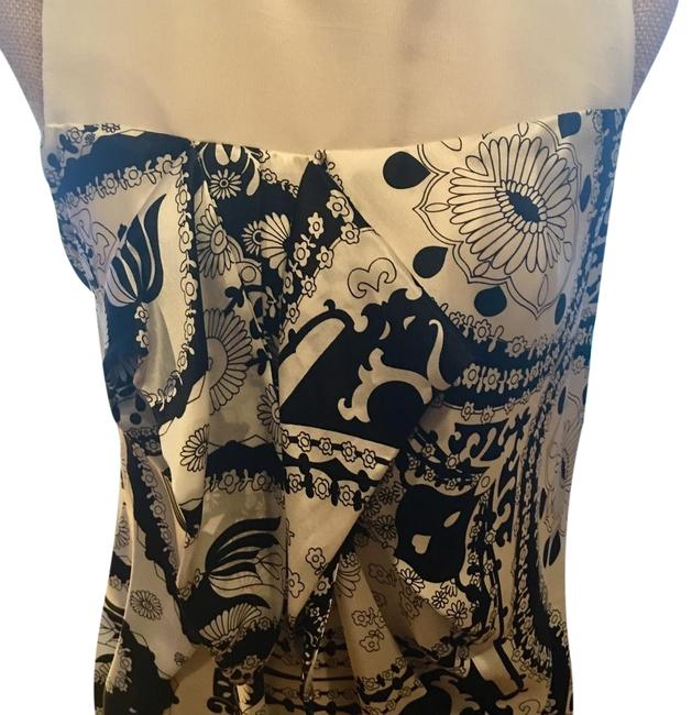 Item - White/Black Fabulous 100%silk with Lining Perfect Look Mid-length Night Out Dress Size 6 (S)