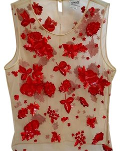 Armani Collezioni Rare Hand Beaded Sequins Top Nude and Red