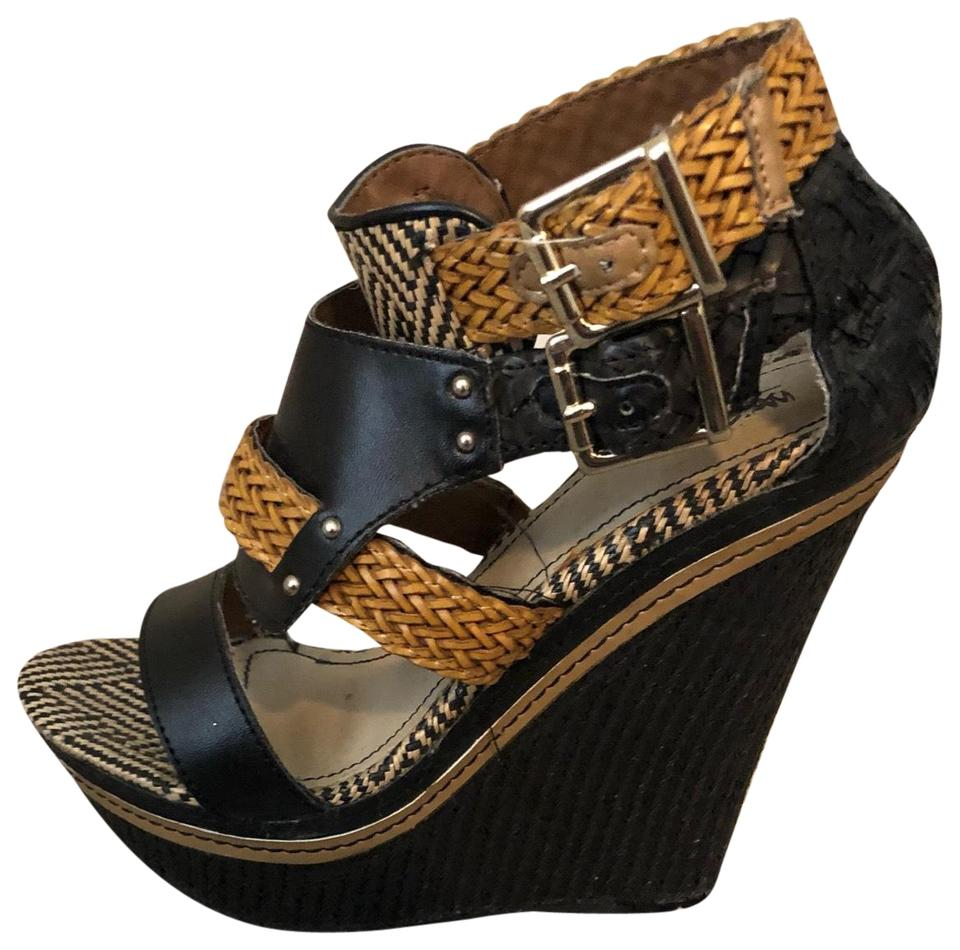 38d7c691c Mossimo Supply Co. Black Woven Wedges Size US 6.5 Regular (M