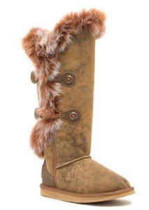 Australia Luxe Collective Shearling Lining Pull On Styling Round Toe Dual Button Strap Brand Logo Plate Aviator Boots