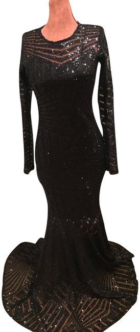 Item - Black Sequin Long Formal Dress Size 6 (S)