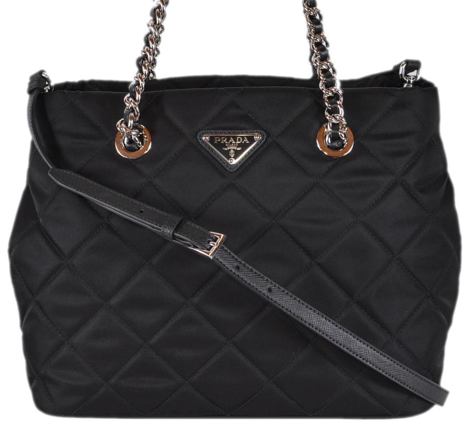 577da222d2e8 Prada New Tessuto Quilted Chain Strap Purse Black Nylon and Leather ...