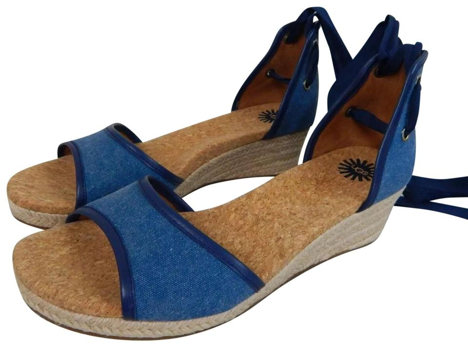 aa8e8d7b88d UGG Australia Blue Amell Open Toe Canvas Ribbon Ankle Wrap Jute Wedge  1014955 New Sandals Size US 9.5 Regular (M, B)