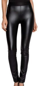 Emerson Fry Faux Leather Skinny Stretchy Chic Edgy Black Leggings