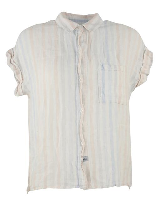 Item - White Blue Red Stripe Linen Rayon Button-down Top Size 4 (S)