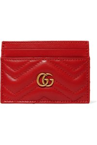 Gucci GG Marmont Red Leather Card Holder Card Case