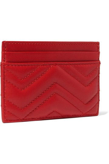 Gucci GG Marmont Red Leather Card Holder Card Case Image 1