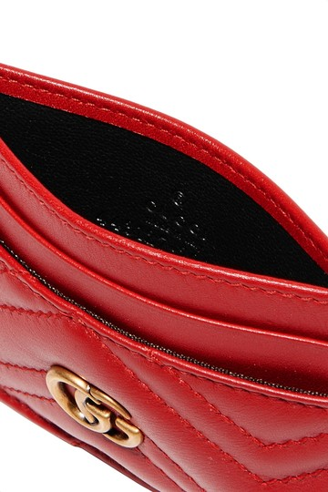 Gucci GG Marmont Red Leather Card Holder Card Case Image 2