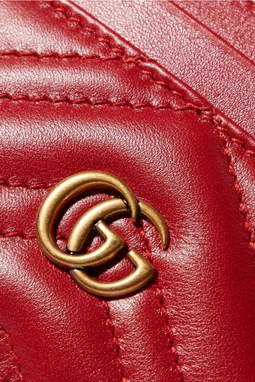 Gucci GG Marmont Red Leather Card Holder Card Case Image 3