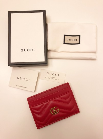 Gucci GG Marmont Red Leather Card Holder Card Case Image 4