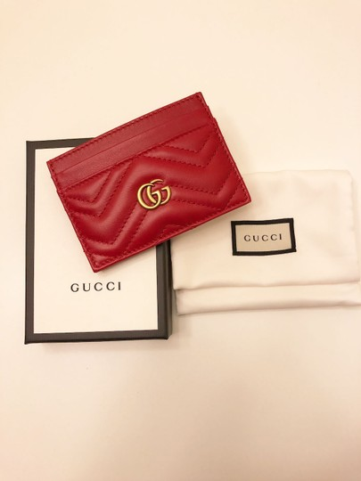 Gucci GG Marmont Red Leather Card Holder Card Case Image 5