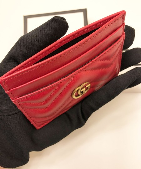 Gucci GG Marmont Red Leather Card Holder Card Case Image 6
