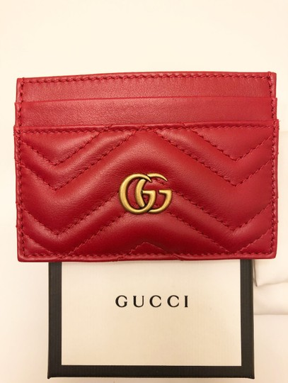 Gucci GG Marmont Red Leather Card Holder Card Case Image 7