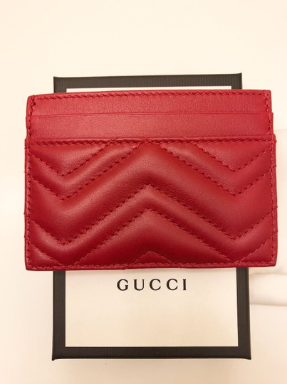 Gucci GG Marmont Red Leather Card Holder Card Case Image 8