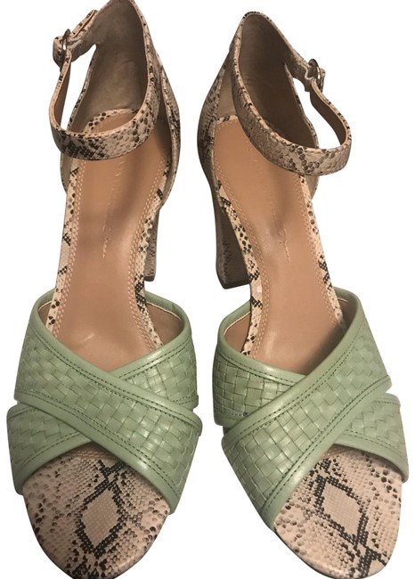 Item - Mint Green with Snake Print Heel Sandals Size US 9.5 Regular (M, B)