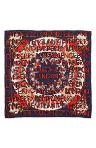 Burberry BURBERRY 'Guards' Logo Text Silk Square Scarf