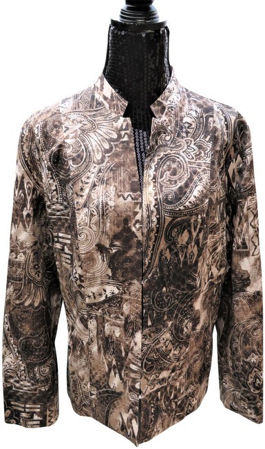 Item - Brown XL New Brown/White Paisley Jacket Size 14 (L)