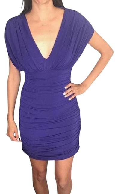 Item - Purple Bcbg Dolman Sleeve Ruched Xsmall Cocktail Short Casual Dress Size 2 (XS)