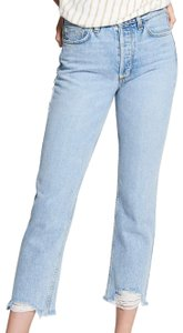 Siwy Distressed Vintage Chic Boho Bohemian Straight Leg Jeans-Light Wash