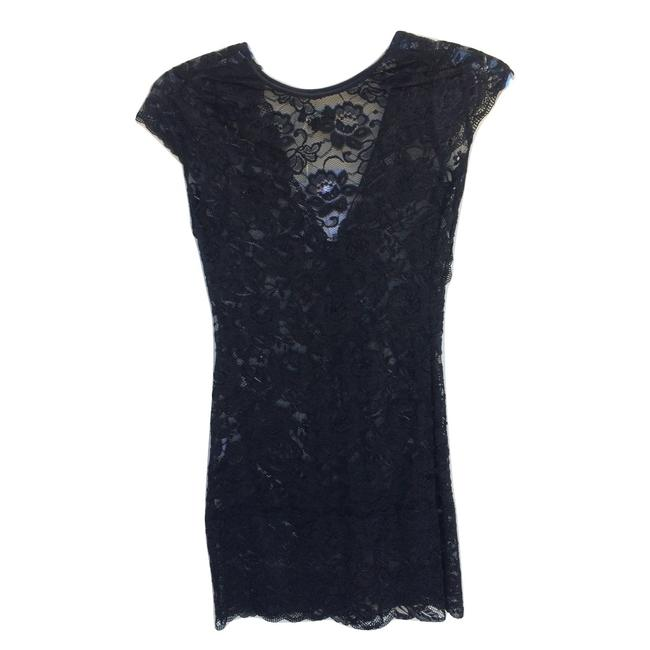 Item - Black Floral Lace Micro-mini Short Night Out Dress Size 0 (XS)