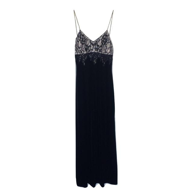 Item - Black Embellished Bead Velvet Gown Long Cocktail Dress Size 2 (XS)