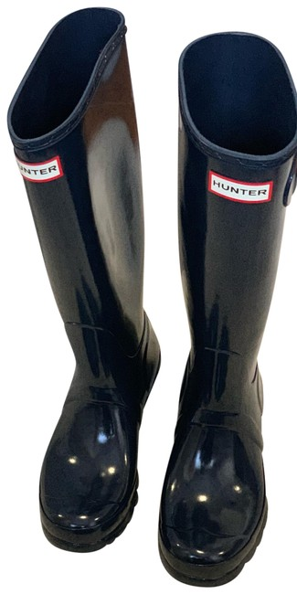 Item - Navy Tall Glossy Boots/Booties Size US 7 Regular (M, B)