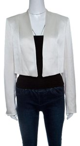 Alice + Olivia Cream Satin Open Front Londyn Cropped Jacket L