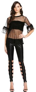 TOV Holy Faux Leather Leather Zipper Skinny Pants Black