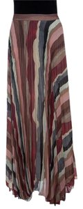Alice + Olivia Pleated Polyester Maxi Skirt Multicolor