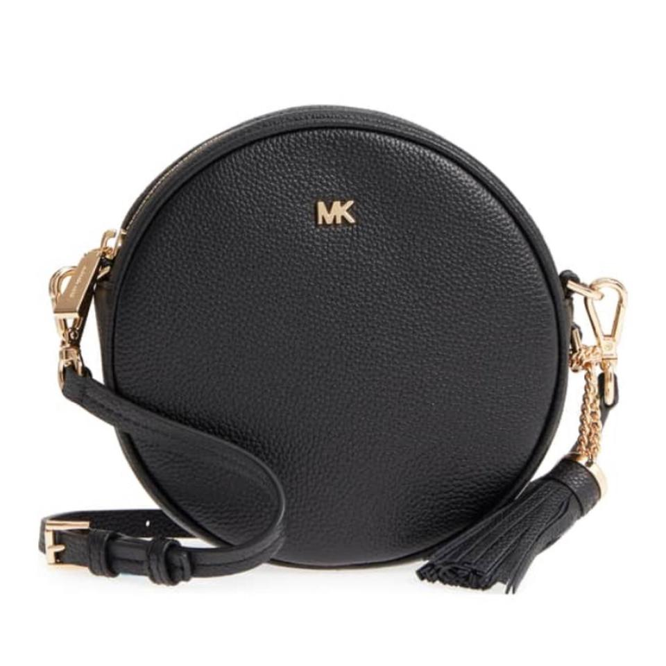 ae02d68a285a2 MICHAEL Michael Kors Pebbled Canteen Black Leather Cross Body Bag ...