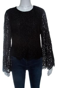 Alice + Olivia Lace Polyester Top Black