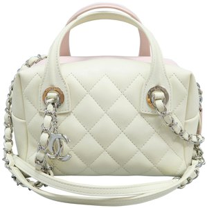 ee1b9221d059 Chanel Calfskin Quilted Whit  Pink Clutch