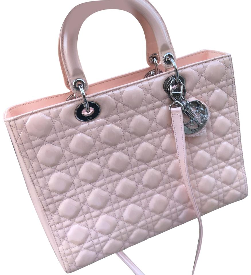 e517589d845 Dior Lady Dior Cannage Large Babypink Patent Leather Tote - Tradesy