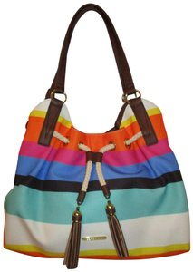 ba35c0bfe405 Liz Claiborne Canvas Striped Faux Leather 002 Onm Shoulder Bag