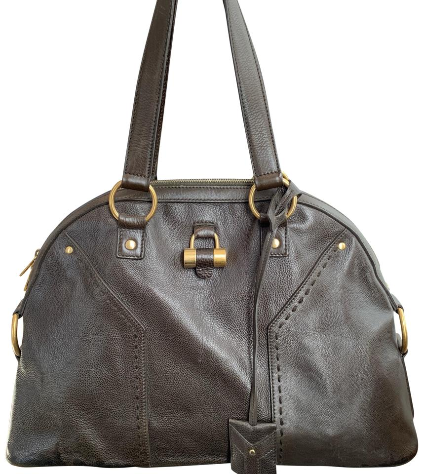 f1e90f53b0f Saint Laurent Muse Large Size Olive/Brown Leather Satchel - Tradesy