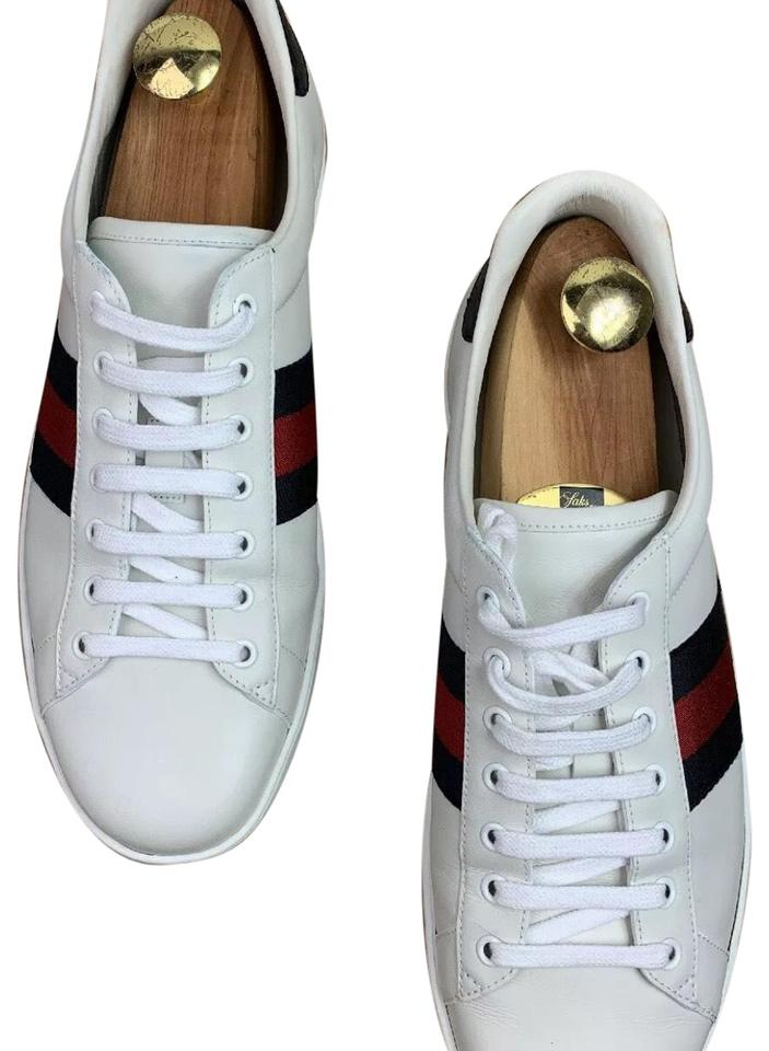 4b6dc912a Gucci Ace Lowtop Red and Blue Webbing White Leather Men's 11g/12us Sneakers