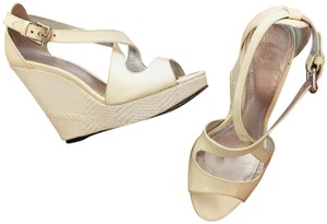 Burberry Night Out Date Night Casual Comfortable Cream Wedges