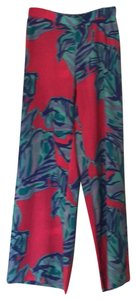 Lilly Pulitzer Wide Leg Pants turquoise pink multi