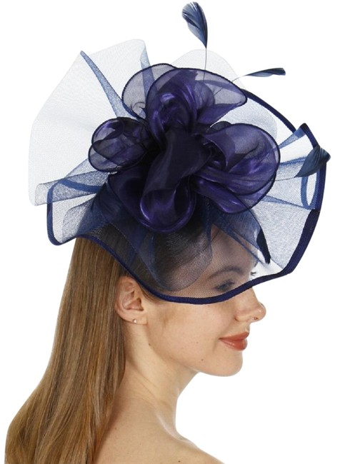 Unbranded Navy New Dressy Lace Flower Cocktail Formal Hat Unbranded Navy New Dressy Lace Flower Cocktail Formal Hat Image 1
