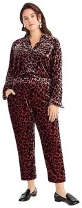 J.Crew Velvet Casual Leopard Rose Gold Relaxed Pants Pink