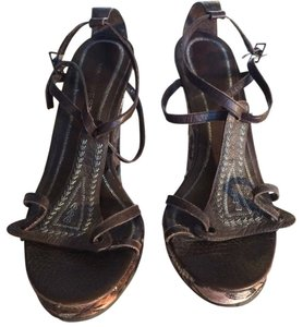 Nine West Jacquard Leather Wedge Brown Wedges