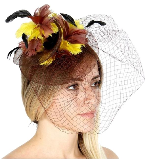 Item - Brown Yellow New Dressy Feather Cocktail Formal Hat