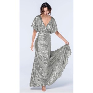Watters Chrome Silver Gray Sequin Elson Gown Formal Bridesmaid/Mob Dress Size 10 (M)