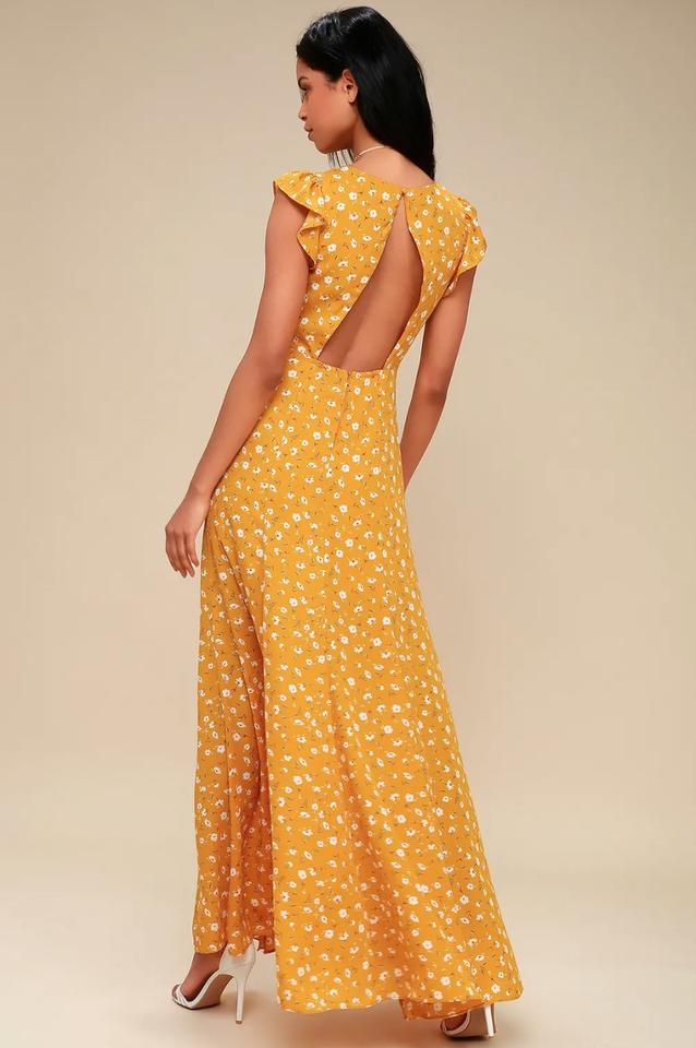 5f40ff7d43 Lulu s Yellow Fresh Picked Mustard Floral Print Backless Long Casual ...