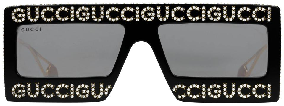 6101eef4fd Gucci Black New Gg0431s 0431s Mirrored Crystal Logo Oversized Sunglasses