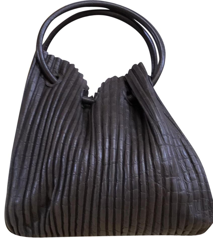 55426a2d54 Giorgio Armani Pleated Handbag Chocolate Brown Soft Leather Shoulder Bag
