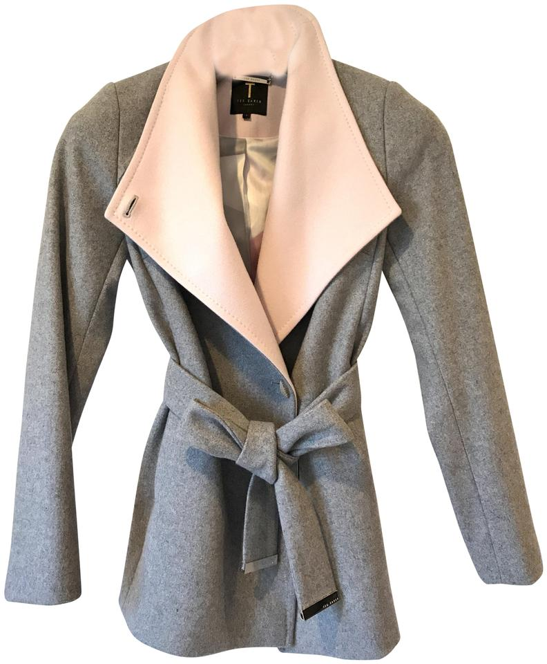 5c04a5350a10 Ted Baker Grey   Blush Ryta Short Wool and Cashmere Wrap Coat Size 4 ...