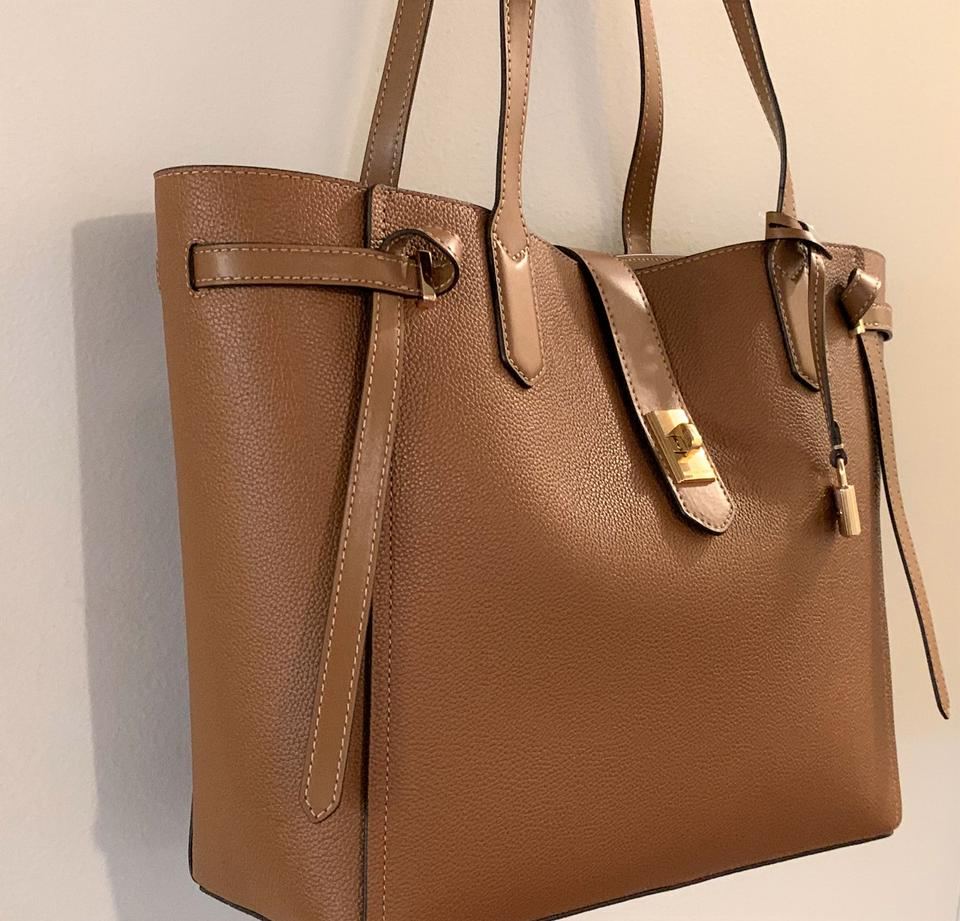 19930a7da1cf MICHAEL Michael Kors Cassie Leather Tote in Luggage Brown Image 7. 12345678