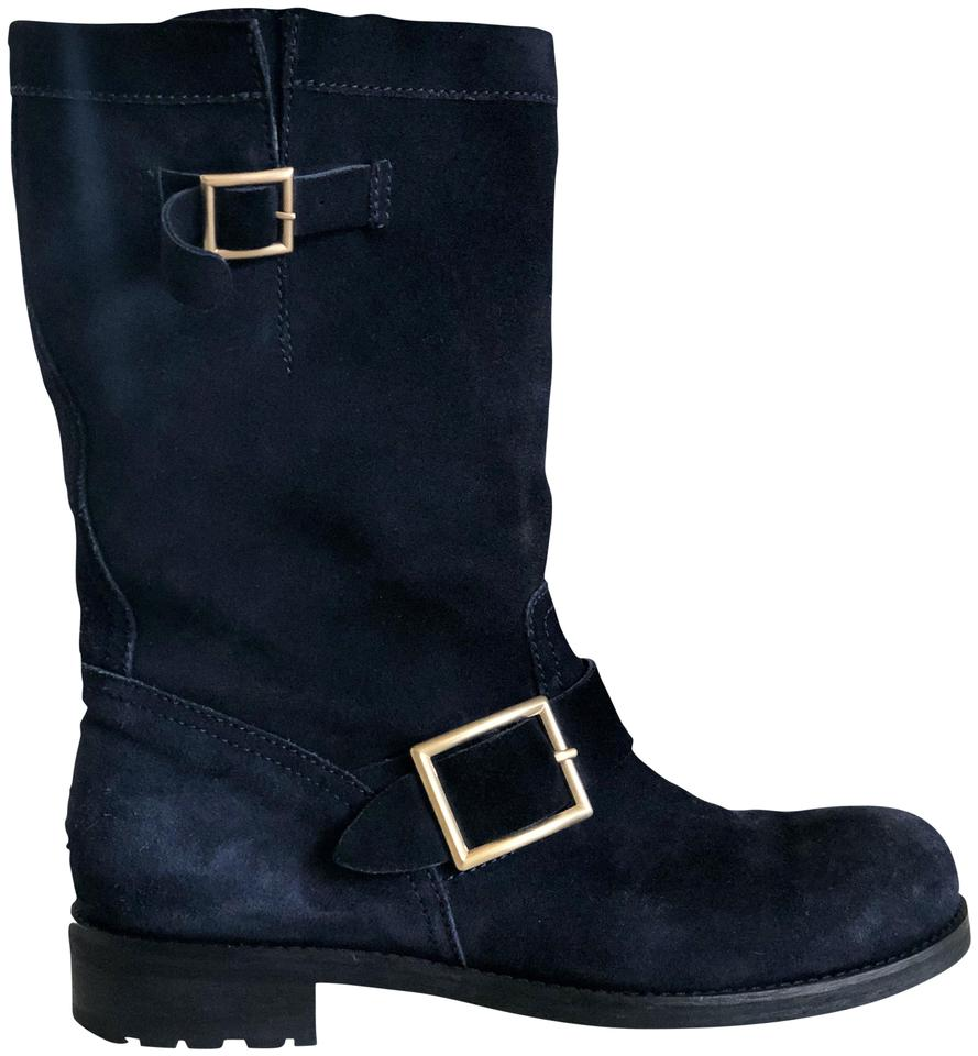 39936a0fd061c Jimmy Choo Navy Blue Textured Suede Leather Ankle Boots Booties Size ...