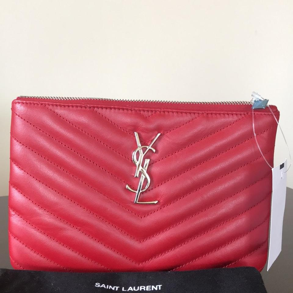 f699f542 Saint Laurent Red Monogram Ysl Small Chevron Quilted Zip-top Pouch Bag -  Wallet